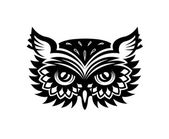 Wise old horned owl head — Stock Vector