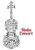 Creative violin concert poster design — Stock Vector