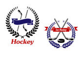 Hockey and Ice Hockey emblems or symbols — Stock Vector
