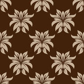 Dainty brown floral seamless pattern — Stock Vector