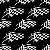 Seamless pattern of a black and white checkered flag — Stock Vector