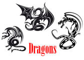 Black danger dragons — Stock Vector