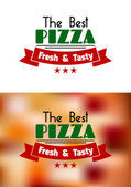 Fresh and tasty pizza label — Stock Vector