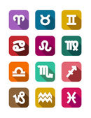 Flat icons with zodiac elements — Stock Vector