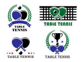 Ping-pong and table tennis symbols — Stock Vector