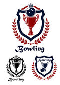 Bowling sport emblems and icons — Stock Vector