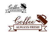 Always Fresh Coffee icon or label — Stock Vector