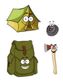 Set of cartoon camping and hiking icons — Stock Vector