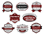Assorted Premium Quality labels and banners — Stock Vector