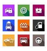 Automobile and service flat icons or web buttons — Stock Vector