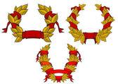 Retro kransen met rode linten — Stockvector