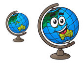 Colorful world globe with a laughing smile — Stock Vector