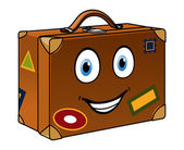 Happy well travelled cartoon suitcase — Vecteur