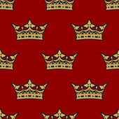 Golden crown seamless background pattern — Stock Vector