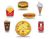 Fast food and takeaway food icons — Stock Vector