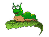 Green cartoon caterpillar insect — Stockvector