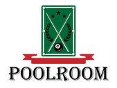 Poolroom and billiards emblem — Stock Vector