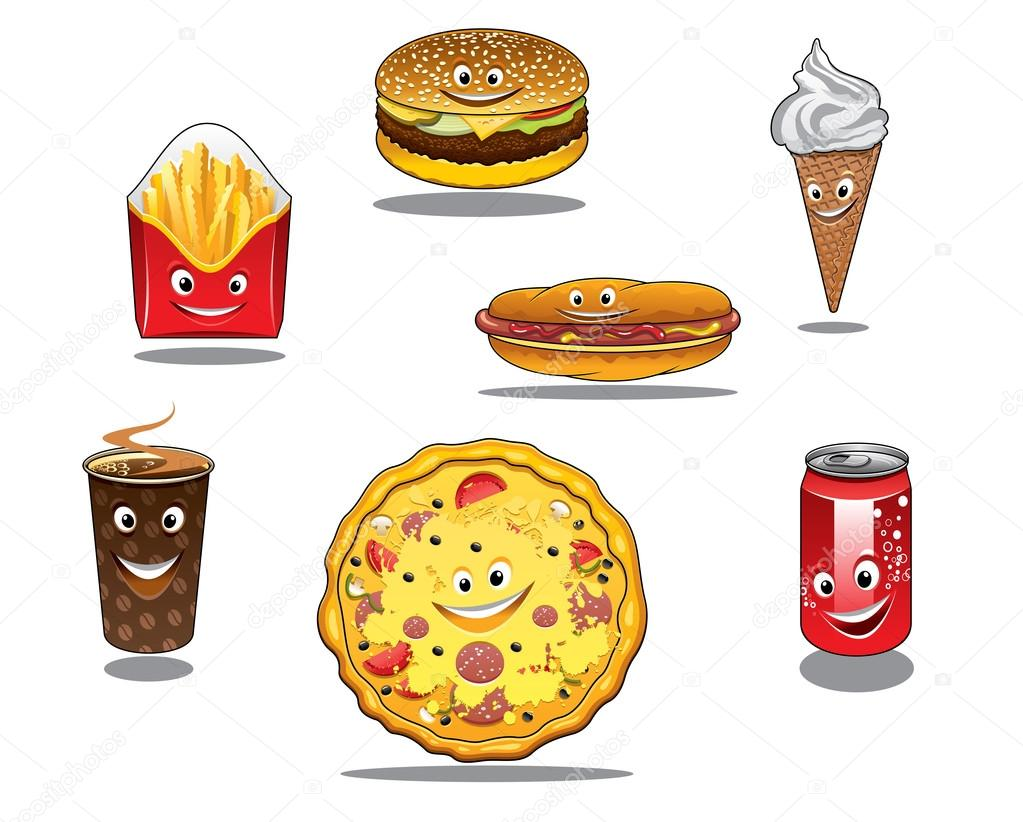 Ícones De Comida Fast Food E Comida Para Levar