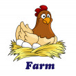 Farm emblem with a hen sitting on eggs — Stock Vector #49907273