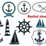 Set of nautical heraldry themed elements — Stock Vector