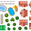 Landscape, garden and architectural elements — Stock Vector
