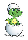 Cute dinosaur or dragon in an egg shell — 图库矢量图片