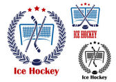 Ice hockey net emblems — Stock vektor