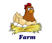 Farm emblem with a hen sitting on eggs — Stock Vector