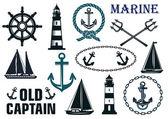 Marine heraldic elements set — Stockvector