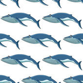 Seamless background pattern of blue whales — Stock Vector
