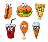 Colorful cartoon set of fast food icons — Stock Vector