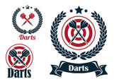 Three different darts emblems or badges — Stock Vector