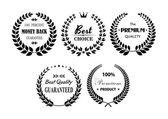 Set of premium and best laurel wreaths — Stock Vector