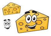 Smiling happy cartoon wedge of cheese — Stock Vector