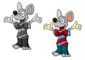 Happy cartoon mouse characters in clothes — Stock Vector