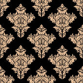 Beige and black seamless floral pattern — Stock Vector