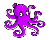 Bright purple cartoon octopus — Stock Vector