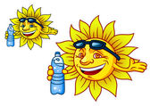 Laughing tropical sun with bottled water — Stock Vector