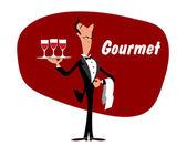 Elegant waiter with wineglasses — Stock Vector