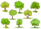 Set of leafy green trees — Stock Vector