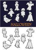 Cartoon Halloween ghosts — Vetor de Stock