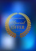 Speciální nabídka zlatý věnec znak nebo popisek — Stock vektor