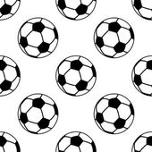 Seamless pattern with football or soccer balls — Vector de stock