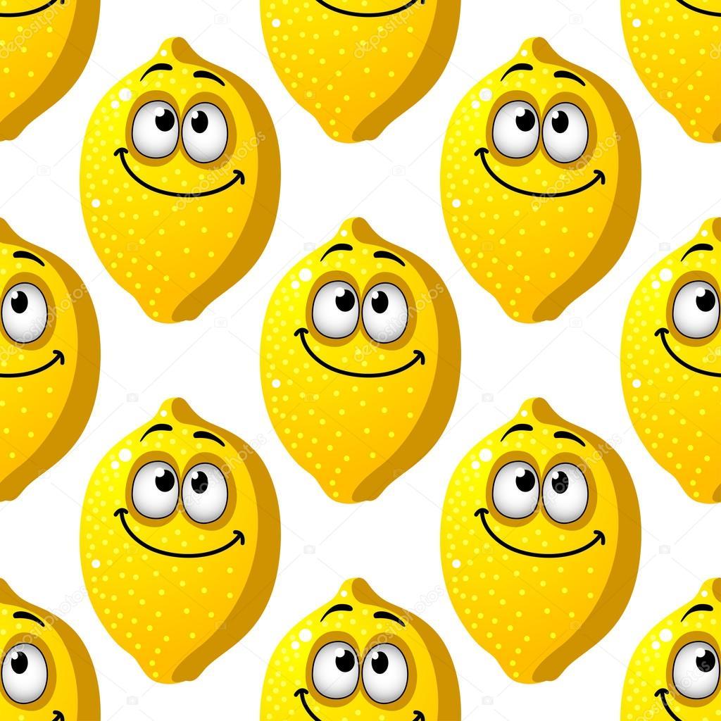 Seamless di sorridente limoni gialli — vettoriali stock