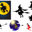 Set of Halloween witches — Stock Vector #50287589