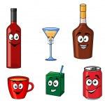 Cartoon set of assorted beverages or drinks — Stock Vector #50287627