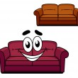 Happy cartoon upholstered couch — Stock Vector #50287635