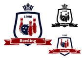 Three bowling badges or emblems — Stock Vector