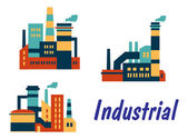 Vlakke pictogrammen van fabrieken en planten — Stockvector