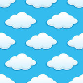 Seamless pattern with fluffy clouds — Stock Vector